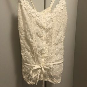 Front tie criss cross lace hollister tank top